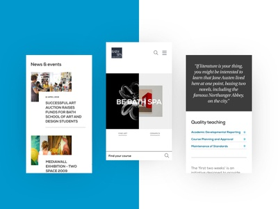 Bath Spa University - Mobile Designs award winning clean white blue mobile design website university mobile ux ui