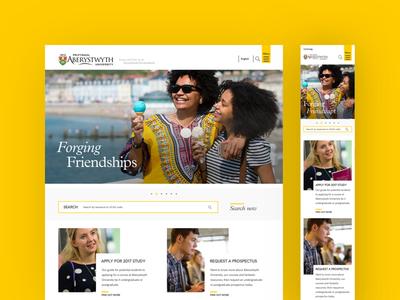 Aberystwyth University homepage welsh yellow website web design web ux university ui responsive education desktop