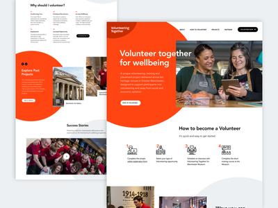 Volunteering Together - Homepage volunteering charity responsive orange white web design homepage clean desktop web ux website ui