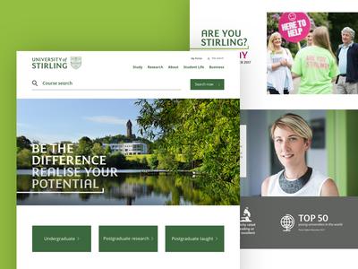 University of Stirling green white clean responsive education homepage desktop web ux website ui