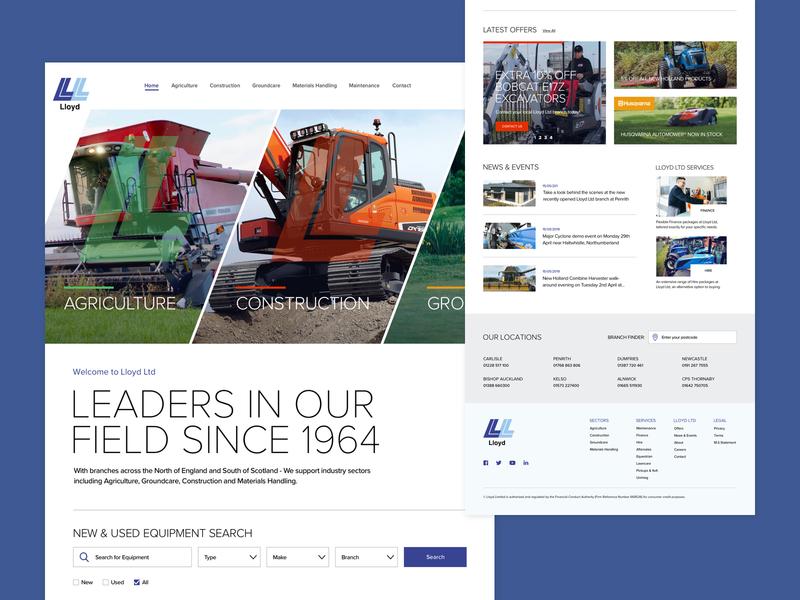 Lloyd-LTD Homepage machinery agriculture industry white clean responsive homepage desktop web website ux ui