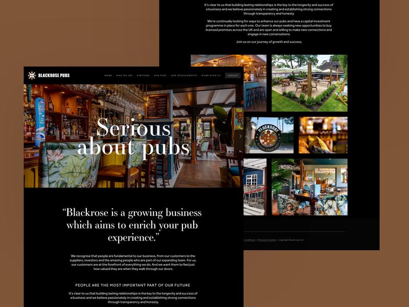 Blackrose Pubs brown pub web design responsive homepage desktop web ux website ui
