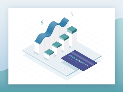 Recurly Payments and Data isometric illustration vector finance trends line graph bar chart credit card payments analytics insights data