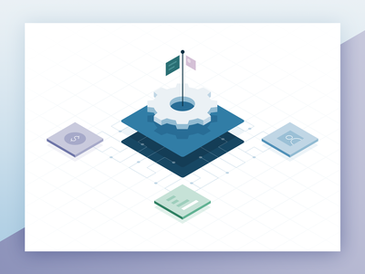 Recurly Artificial Intelligence and Machine Learning gear isometric vector illustration artificial intelligence data machine learning