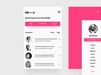 ide-a discussion + menu user interface ui design webdesigner webdesign minimal interface inspiration graphic digital creative app
