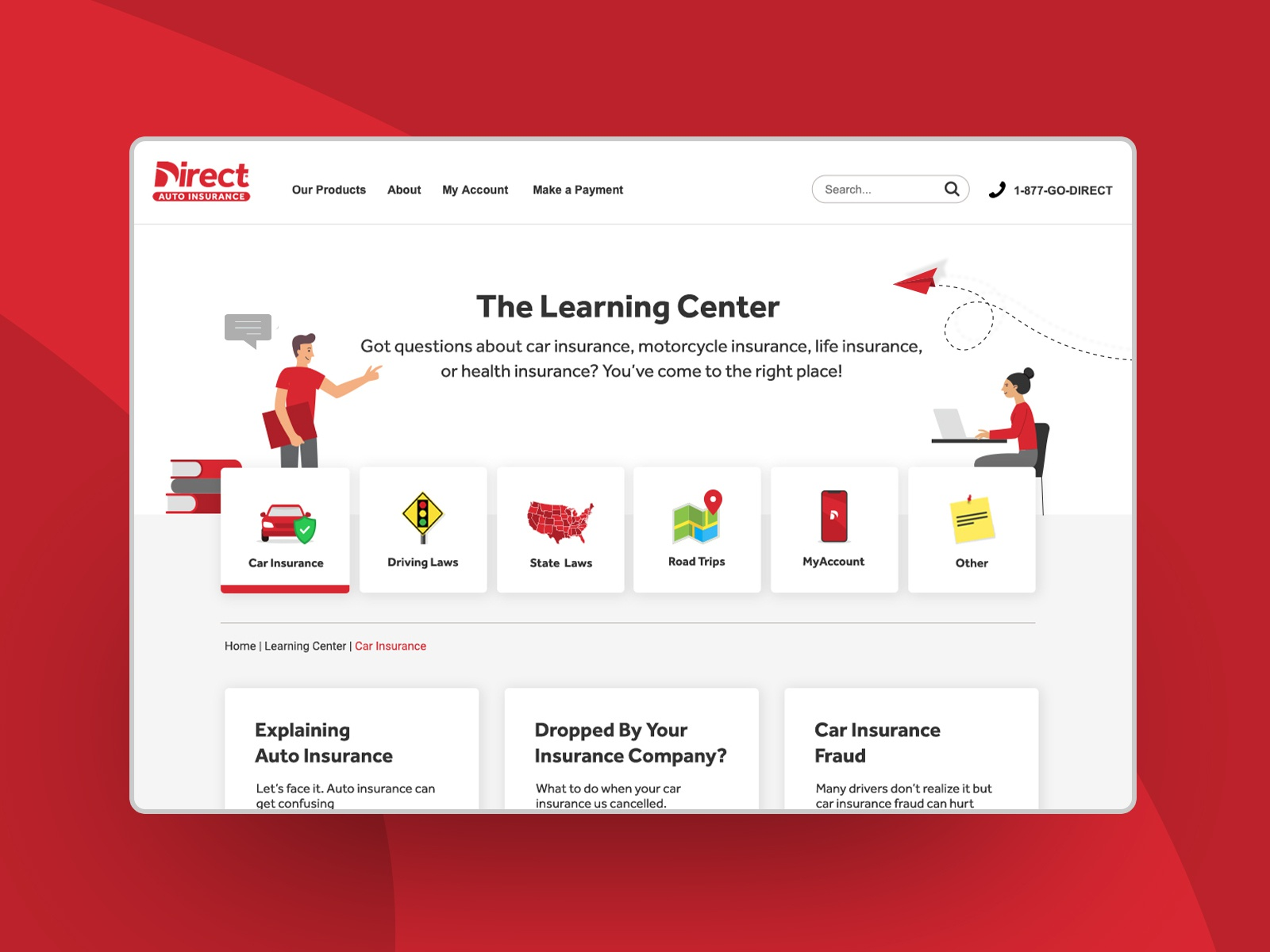 The Learning Center For Direct Auto Insurance By Tyler Harder On Dribbble