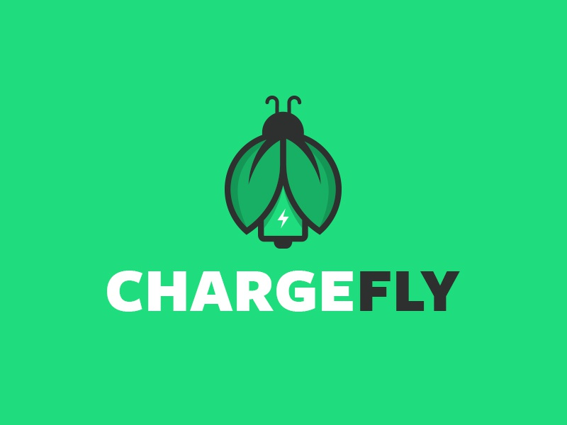 ChargeFly digital design service mobile battery visualidentity digital designer bug fly charge type vector typography logo deisgn logo icon identity branding brand graphic  design design