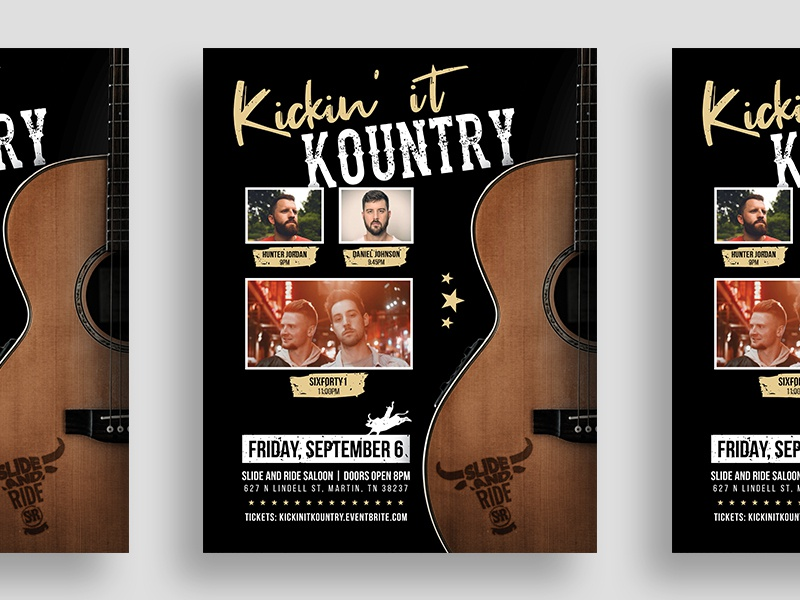 Kickin' it Kountry Flyer Design 🤠 graphics graphic advertisement poster bar artist singer tennessee country music country saloon event flyer event guitar flyer design flyer illustration typography graphic  design design