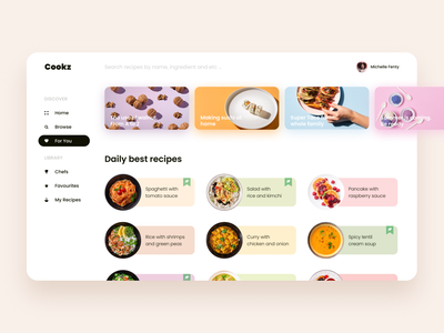 Recipe App UI cookbook cooking app cooking cook food app bright color food recipe book recipe app recipe web typography menu app ui design