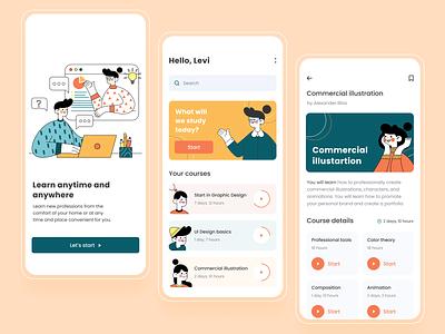 Online courses app course app course colorful concept typography online education courses illustration mobile ui design app