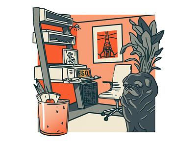 FSQ April 2020 - Quarantine Edition quarantine studio inside room fsq mai tai pug illustration vector