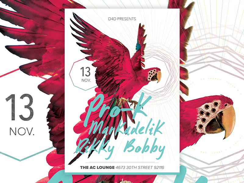 D4D Presents #01 poster d4d bird eyes eye photoshop party flyer