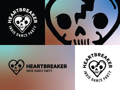Heartbreaker - Indie Dance Party Logo branding logo illustration vector party indie dead broken heart heart skull