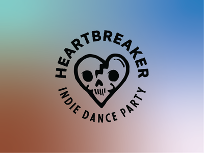 Heartbreaker - Indie Dance Party Logo branding logo illustration vector party indie dead broken heart heart skull