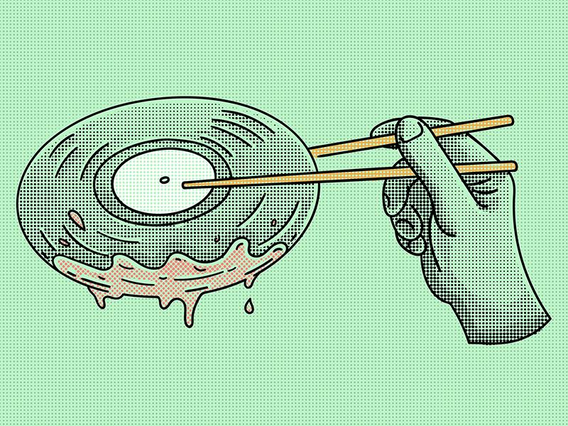 Do the dip illustration hand chopsticks dip halftone records