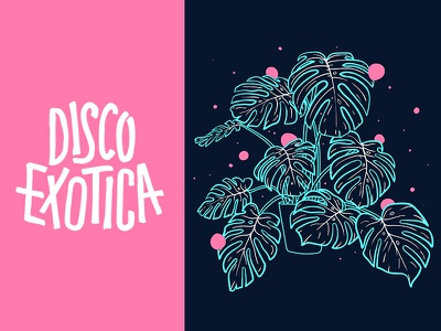 Dribbble Disco Exotica neon flyer illustration painting vector type pink plants bright tropical