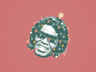 Funky Christmas james brown illustration flyer poster stippling tree holiday christmas lights vector face
