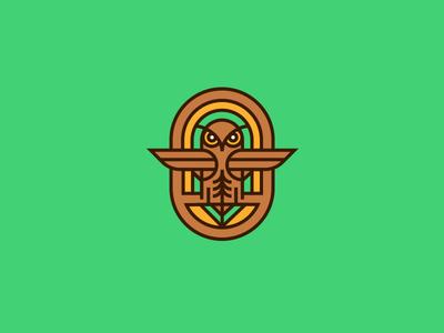 Classic Owl outdoors vector tree 70s minimal icon brand owl