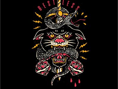 clothing brand design snake brand panther illustration tattoo graphic design hipster tshirt design