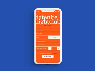 It's Datenite 🖤 signup guestlist nightlife nightclub flat web minimal design ui
