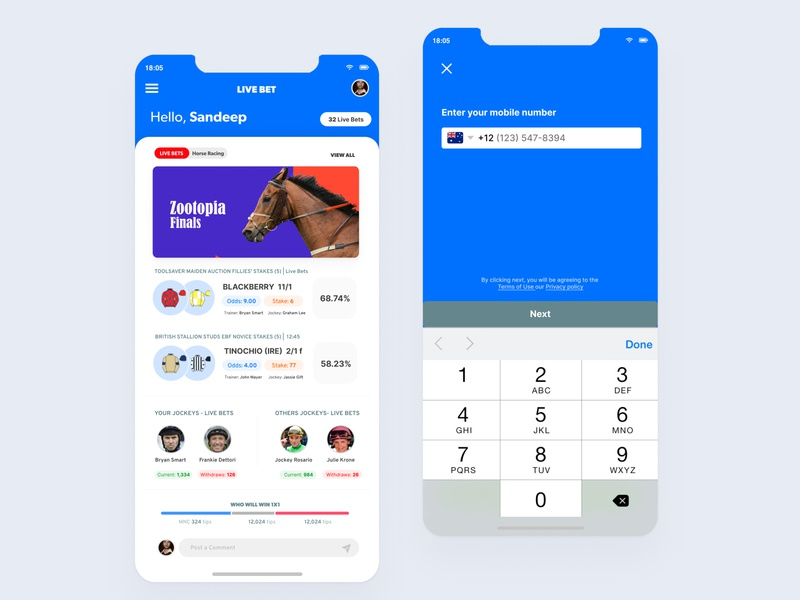 Live Bet - Horse Race and Sports betting mobile application #2 interactive design andorid ios app ux interaction minimal design interface ui