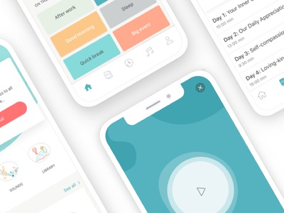 Deeply App - Meditation & Self-care iphonex layout sounds meditation app health ios clean app pastel colors meditation app branding ui design mobile app
