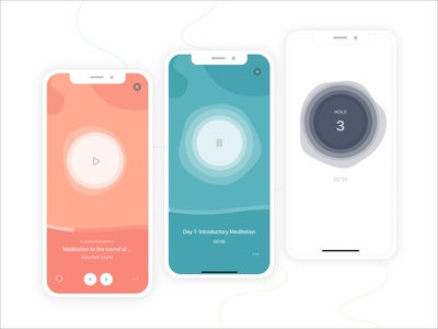 Deeply Play Screen now playing view apple spotify pause play music breathing loading bar player ui ux mobile app app ui pastel colors meditation app meditation ios health design