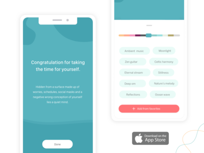 Deeplyapp sounds pastel colors buttons confirmation done filters music pills color bars favorites loading bar congratulation control ui mobile app meditation ios health app deeply