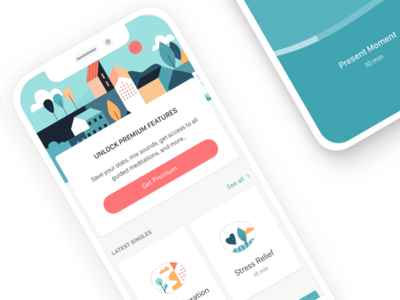 Deeply app Homescreen illustrations mindfulness home screen meditation app branding ui mobile app meditation ios health app