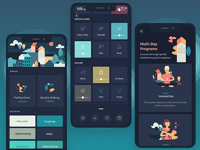 dark mode ios app night mode dark ui dark mode mobile app meditation health