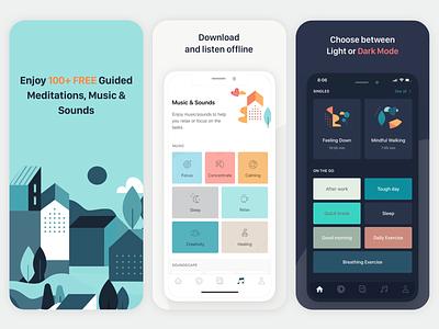 App store free home screen ui music mindfulness relax sleep health ios app app store
