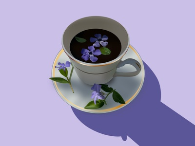 Cup of coffee violet flowers nature illustration realistic icon mood cup coffee graphic design
