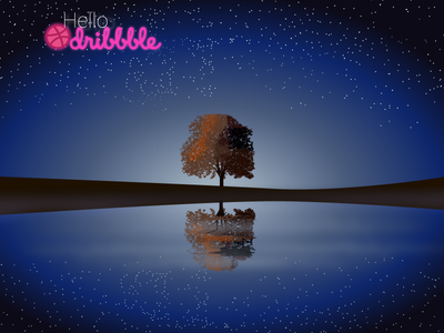 Lone Tree Under The Starry Sky nature blues stars night illustration debut