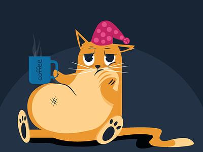 Grumpy cat coffee funny sad illustration happy morning cat angry