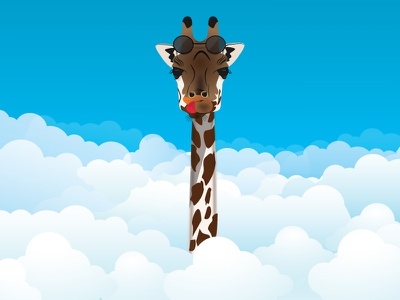 Giraffe in the sky tongue funny sunglasses clouds illustration giraffe