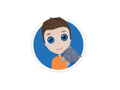 Blue-eyed boy and sleepy cat eyes blue icon graphic cat vector illustration
