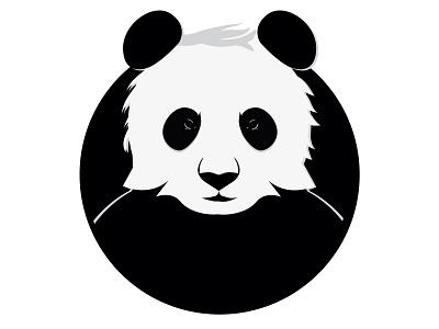 Panda icon serious black  white character panda animal logo icon illustration