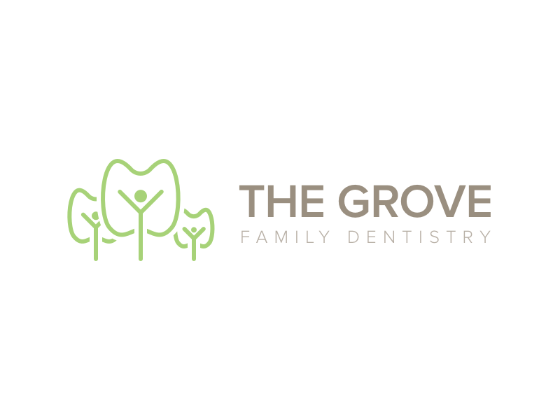 The grove family dentistry logo white 2x