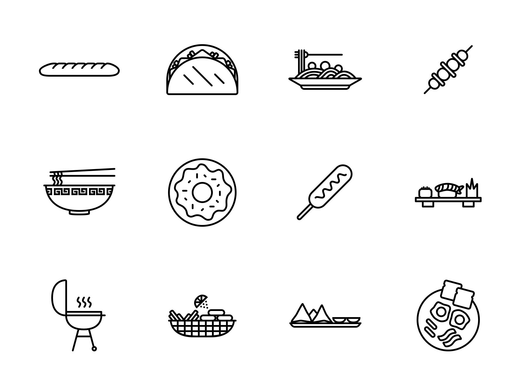 Food icons black