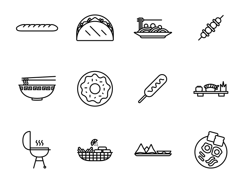 Dribbble food icons black 2x