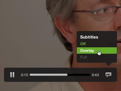 Video Control UI w/ Subtitles