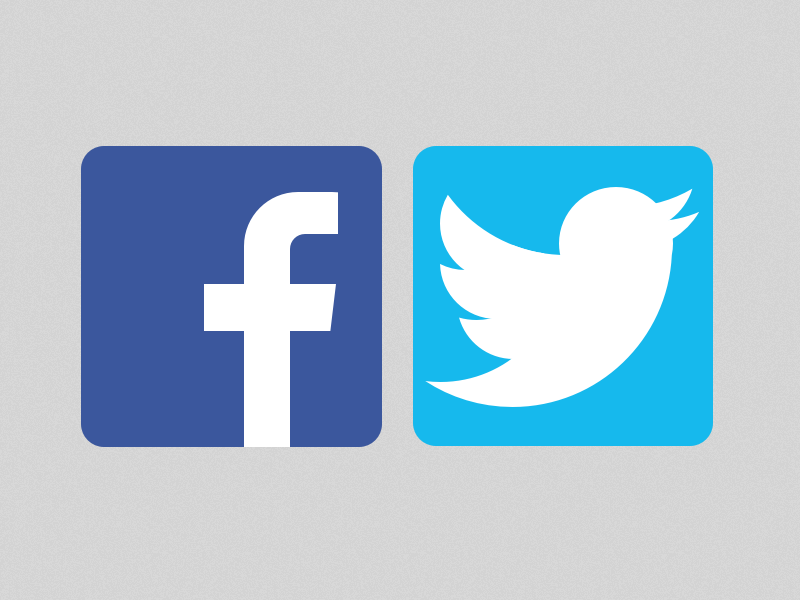 logo facebook and twitter vector