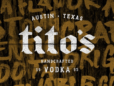 Tito's Vodka grunge halftone black letter logo
