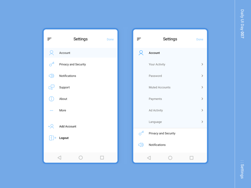 Daily UI day 007 dailyui 002 design setting settings ui app app design dailyui 007 dailyui 005 dailyui 001 ui ux  ui ux user interface user experience ui design mobile mobile app design dailyuichallenge dailyui daily 100 challenge