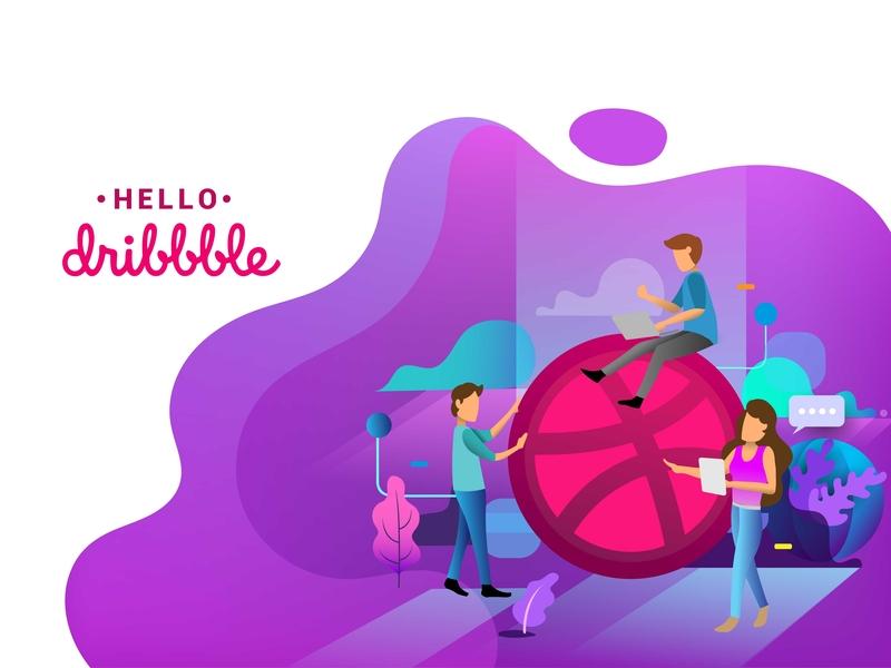 Hello, Dribbblers! Big thanks to @kovski for the invite! branding desktop ux graphic design page development app layout thank you marketing landing internet homepage flat ui design vector mobile hello dribble illustration