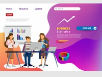 Web design homepage concept of teamwork build business