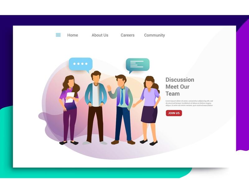 Design homepage concept of teamwork build business discussion app business layout web interface graphic design ux page marketing development ui landing internet homepage vector mobile illustration flat design