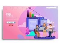 Modern flat design Digital marketing landing page template.