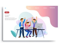 Design homepage concept of teamwork build business