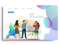 Flat design web page template for teamwork discussion